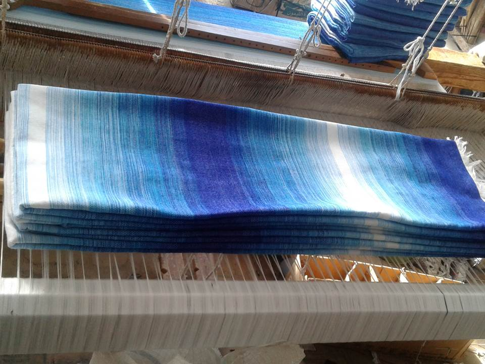 Blue Sky Blanket over the wooden loom - Moroccan Corridor