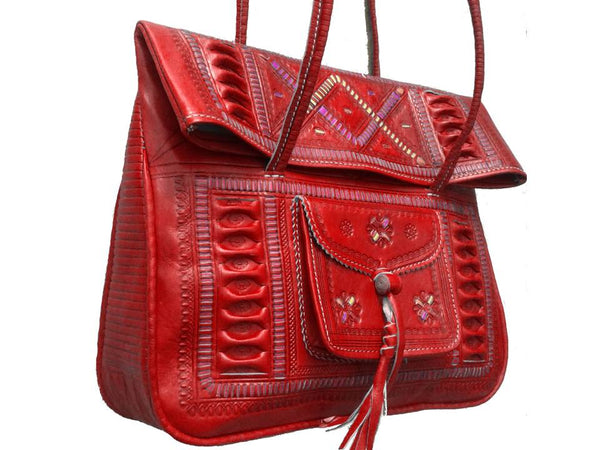 Red Leather Tote - Chkara by Moroccan Corridor