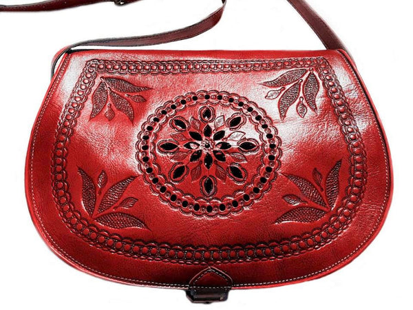 Red Leather Bag - Creation of Marrakesh - by Moroccan Corridor