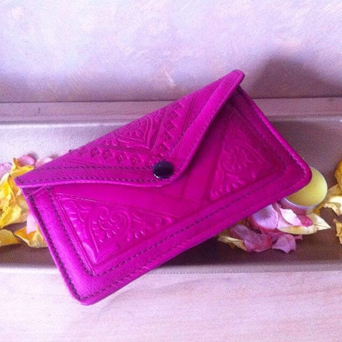 Leather Wallet - Pink - Moroccan Coridor