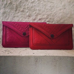 Moroccan Corridor - Red & Pink/Fuchsia leather wallets
