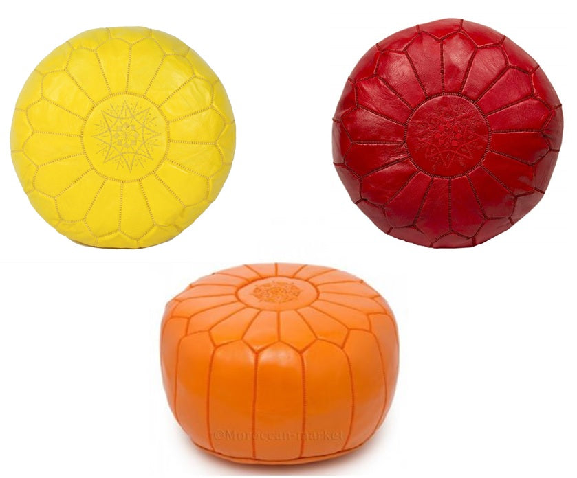 Moroccan Leather Poufs - Yellow, Red and Orange
