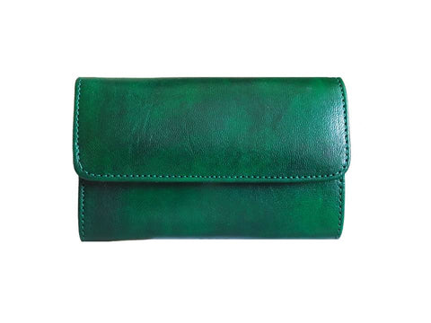 Club Morocco Leather Wallet - Small - Green - Front