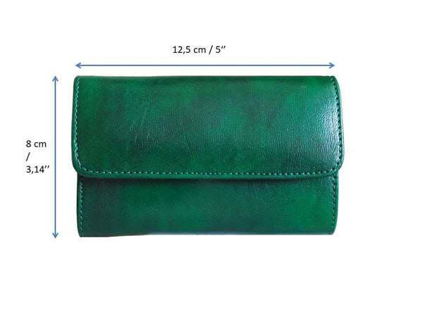 Club Morocco Leather Wallet - Small - Green - Measurements