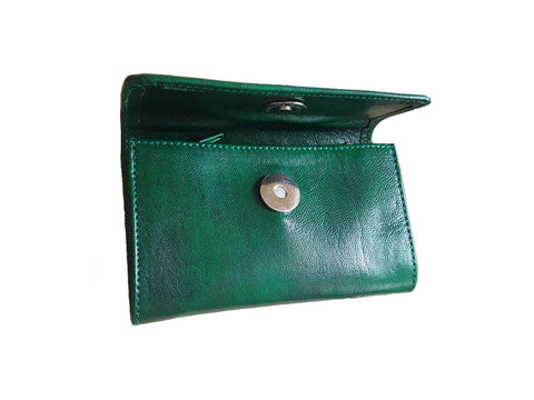 Club Morocco Leather Wallet - Small - Green - Open