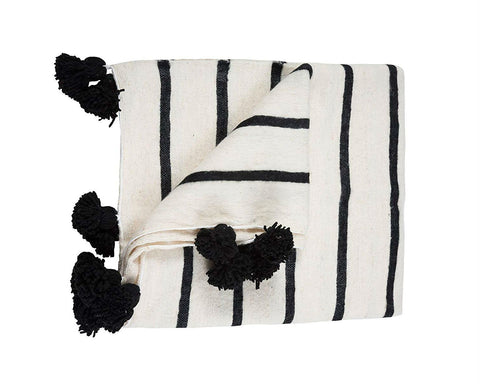 Moroccan Pom Pom Blanket - White with Black Stripes Pom Pom Blanket