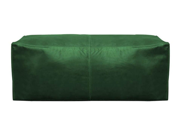Moroccan Leather Pouf / Ottoman - Rectangular - Grenn - Nelya