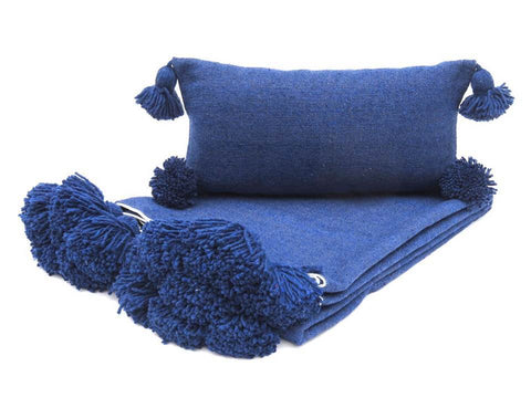 Moroccan Pom Pom Blanket with two Pillows - Blue