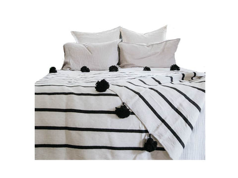White with Black Stripes Pom Pom Blanket
