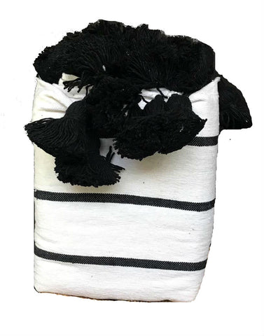 Moroccan Pom Pom Blanket - White with Black Stripes Pom Pom Blanket - Moroccan Corridor