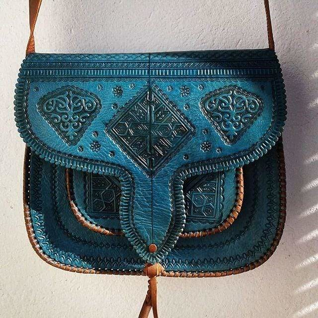 Leather Bag Turquoise - LSSAN Shoulder bag by Moroccan Corridor