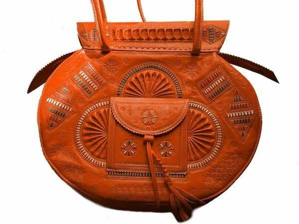 OOrange Leather Tote Bag - Flower of Tetouan - by Moroccan Corrdior