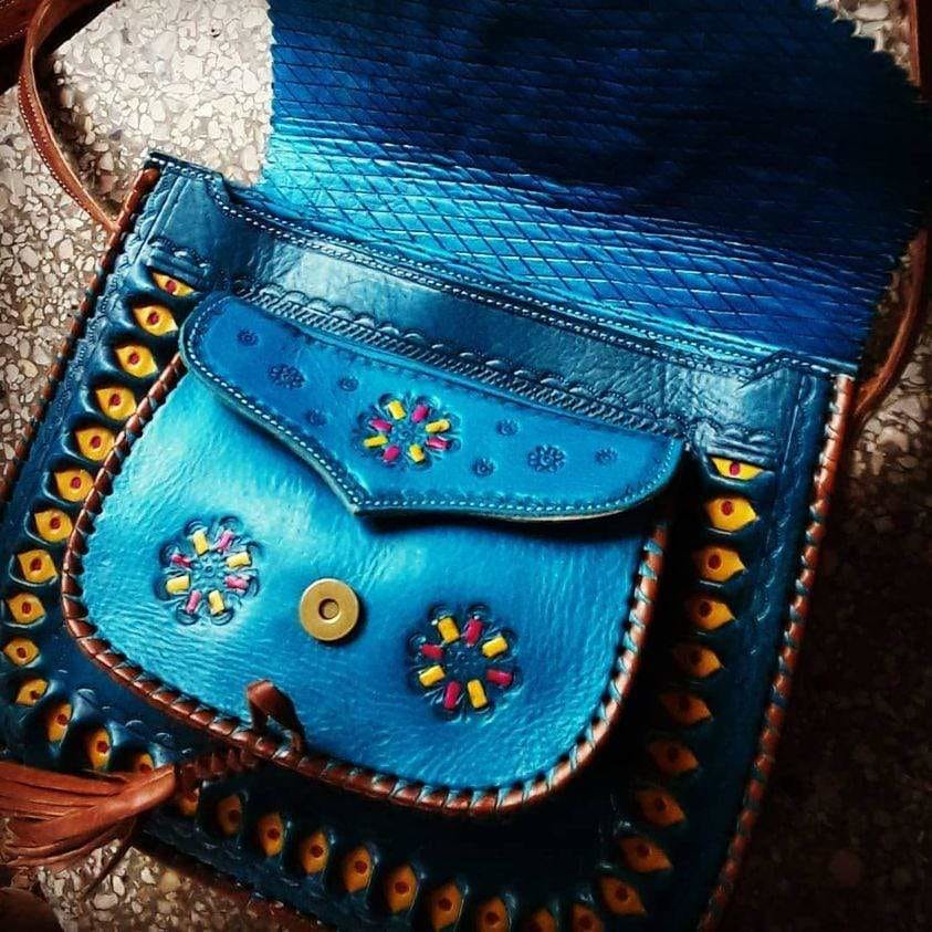 Leather Bag - Turquoise with Yellow Embroidery