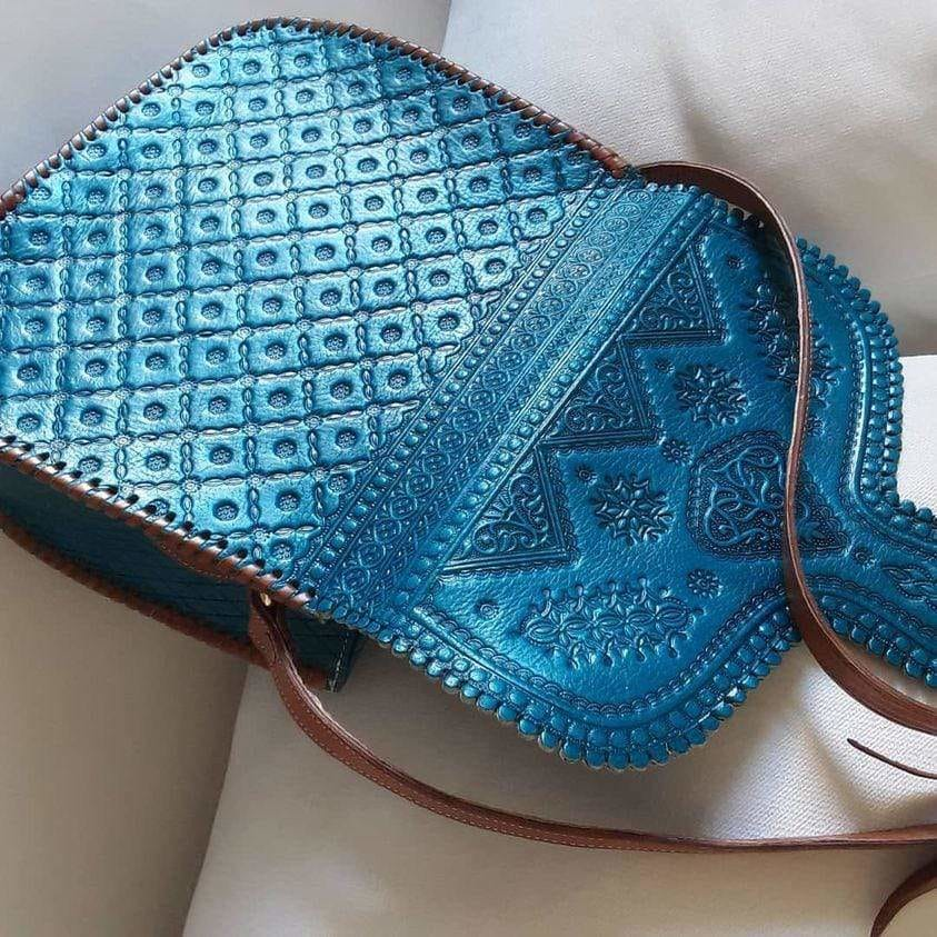 Turquoise Color mix with Brown - Leather Bag