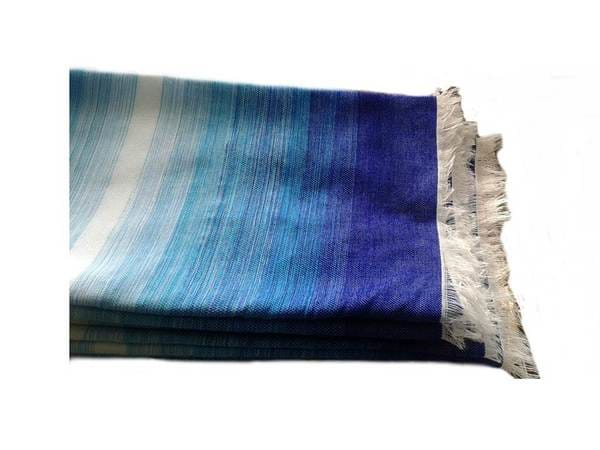 Moroccan Blanket - Blue, Turquoise and White - Blue Sky