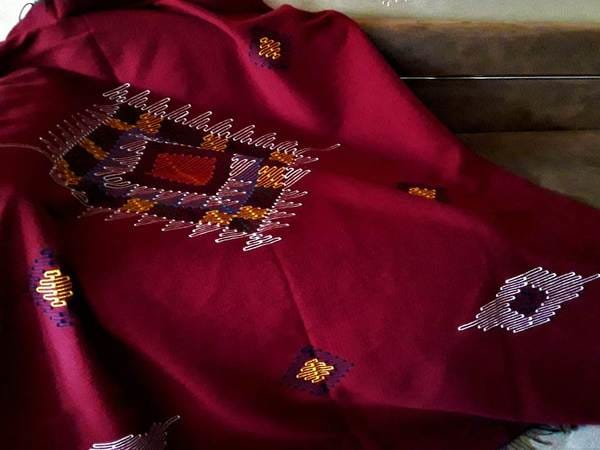 Moroccan Blanket - Embroiderd Wool Blanket from Cefchaouen