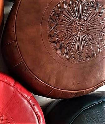 Moroccan Leather Pouf - Embossed - Moroccan Corridor