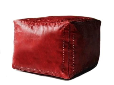 Leather Pouf by Moroccan Corridor