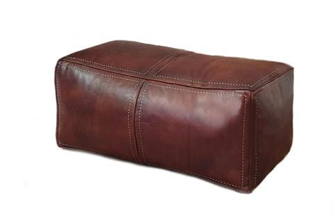 XL Leather Pouf by Moroccan Corridor