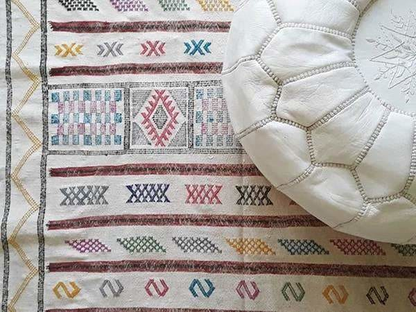 Moroccan Leather Pouf - White - By Moroccan Corridor