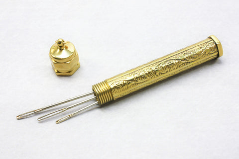 Needle Case - Embossed - Brass