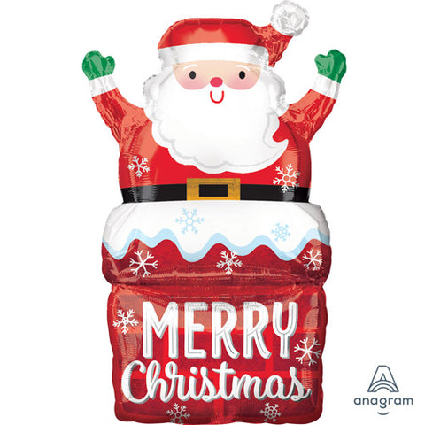 Santa in chimney supershape foil balloon - 30 inch