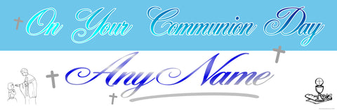 Communion Personalised Banner Blue & Silver