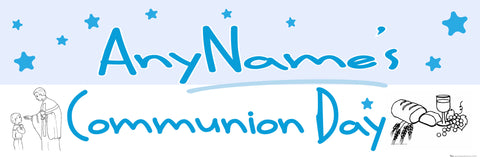 Communion Personalised Banner Blue