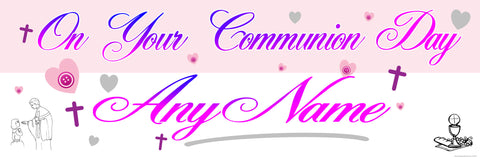Communion Personalised Banner Pink & Purple