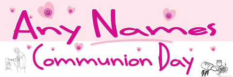 Communion Personalised Banner Pink