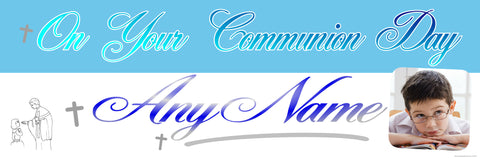 Communion Photo Banner Blue & Silver