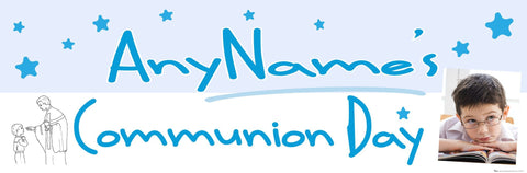 Communion Photo Banner Blue