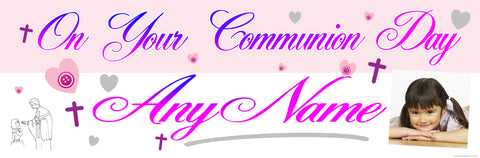 Communion Photo Banner Pink & Purple