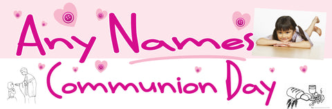Communion Photo Banner Pink