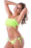 model pose in neon green fringe bikini