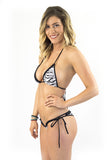 White Tiger Stripe Micro Bikini black string Brazilian
