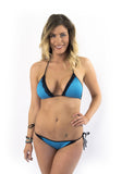 Turquoise Blue elegant Lace accent String Bikini Brazilian bottom