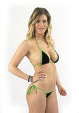 Black Velvet green string Micro Bikini thong bottom