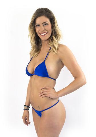 Deep Blue triangle top Micro Bikini g string bottom extreme