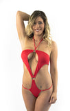 Halter One Piece red Sexy Micro extreme Bikini