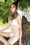 MAW photography model in white triangle bikini