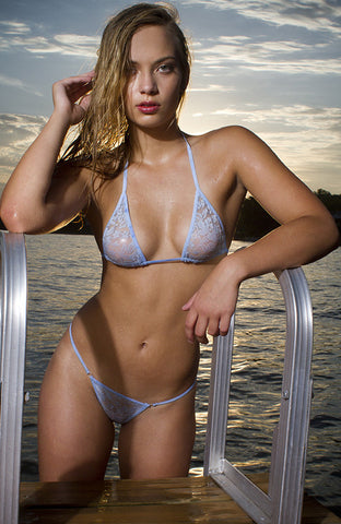 MAW photography model in blue lace bikini