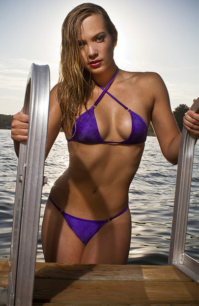MAW photography model in purple micro bikini