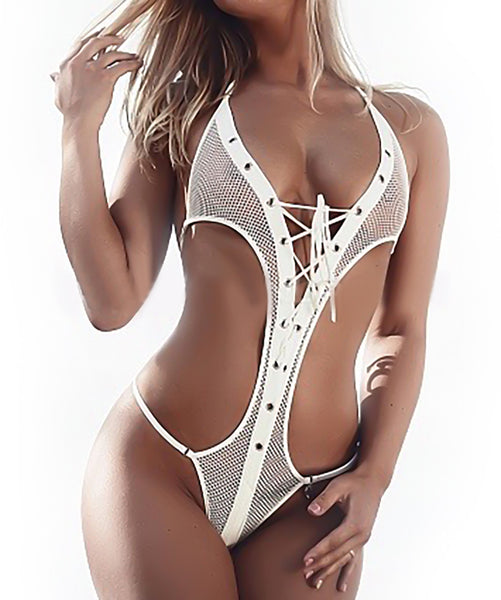 White fishnet see thru micro thong bikini