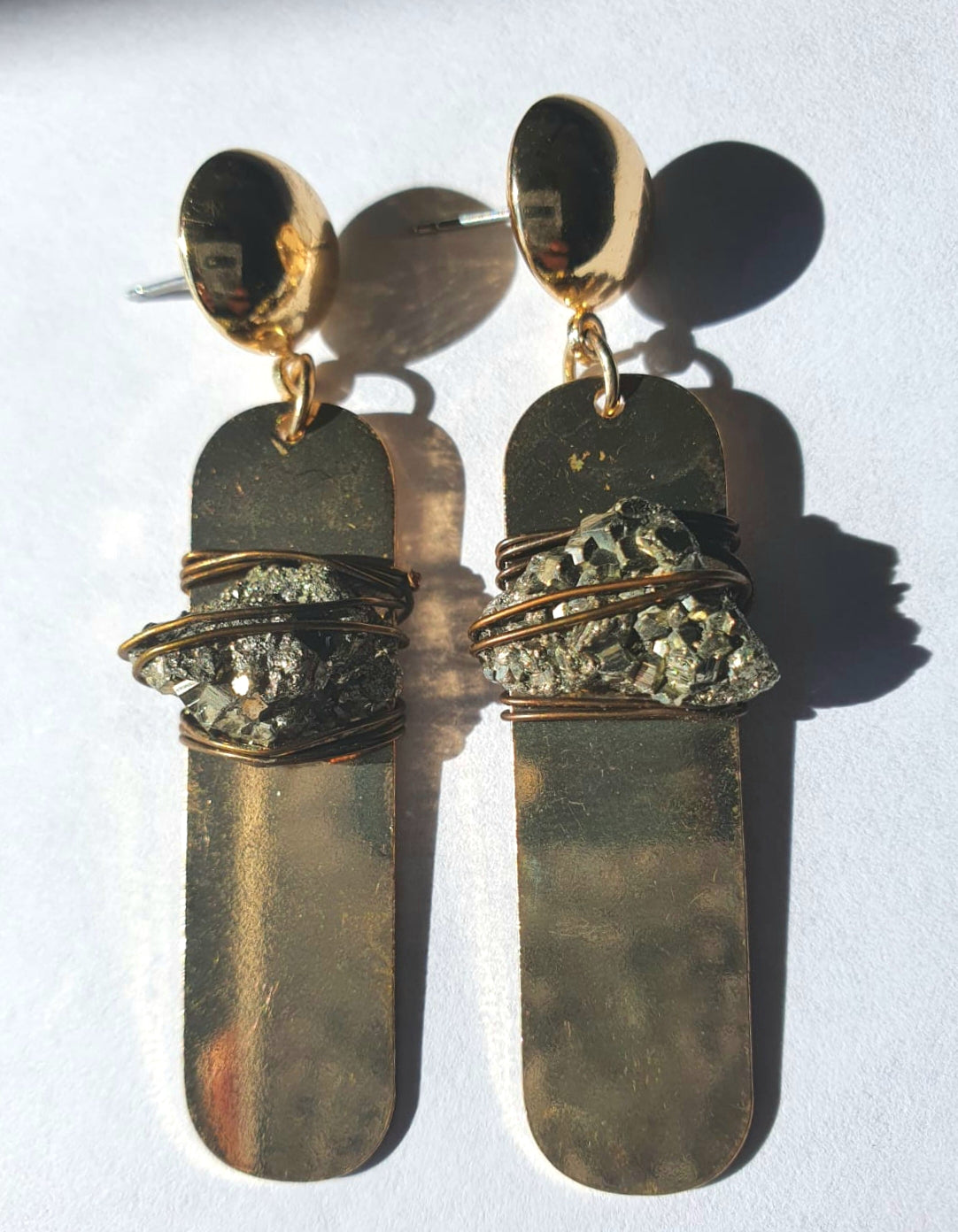 Pyrite Plate Earrings