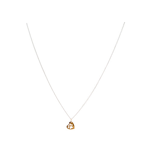 BAWA Charity Small Paw Print Heart Necklace