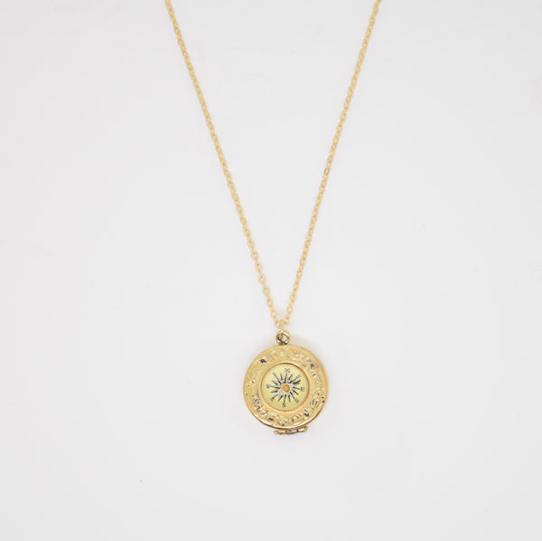 Gold Patterened Compass Locket