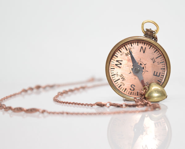 """Follow Your Heart"" Rose Gold Compass"