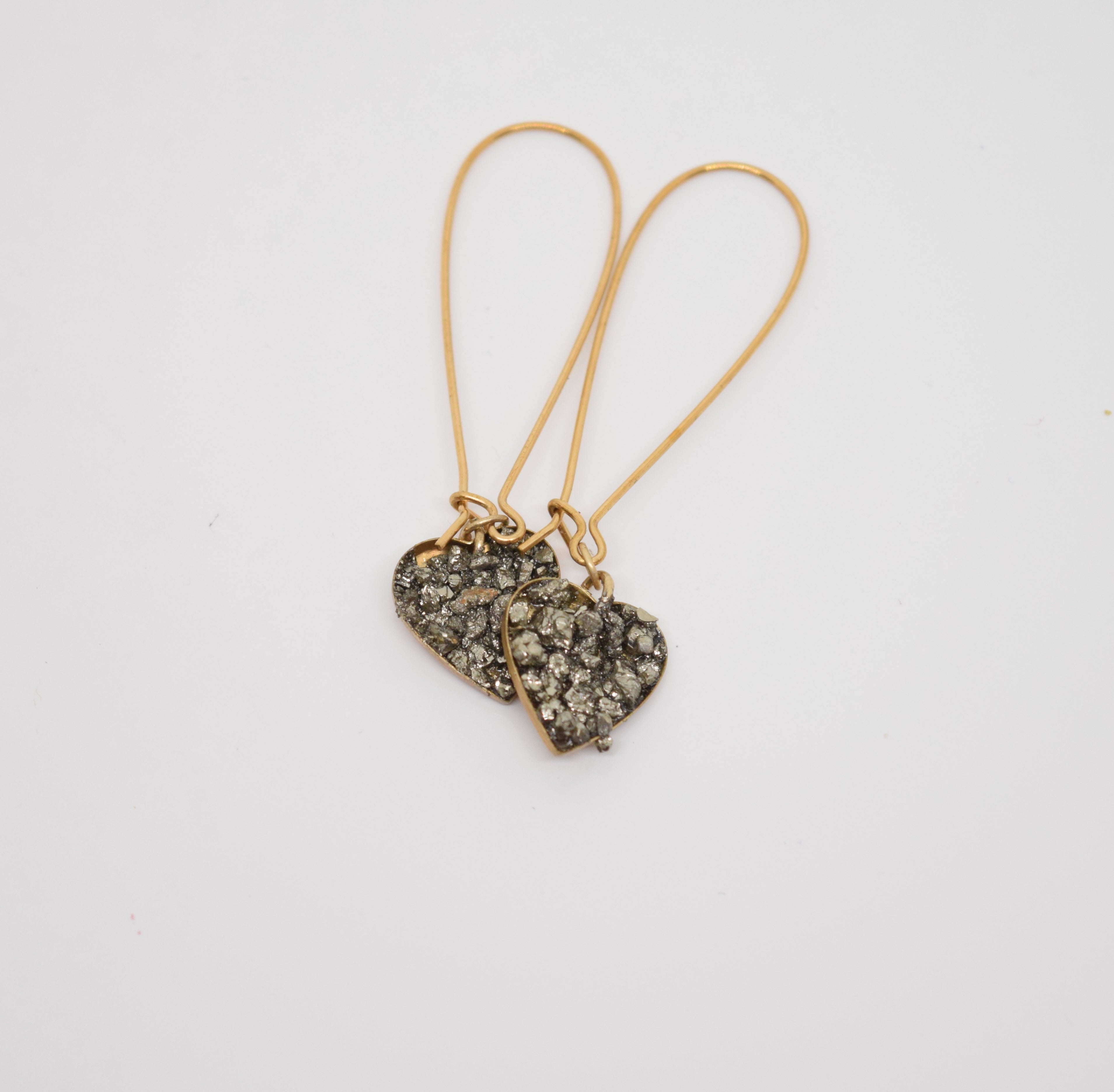 Gold & Pyrite Heart Earrings