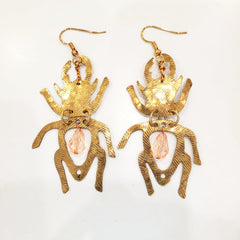 Gold Beetle Earrings